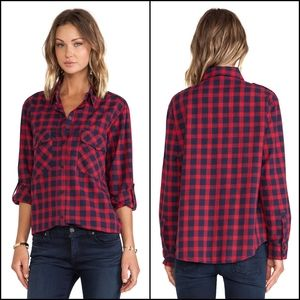 Sanctuary S Teen Spirit Ruby Plaid Shirt